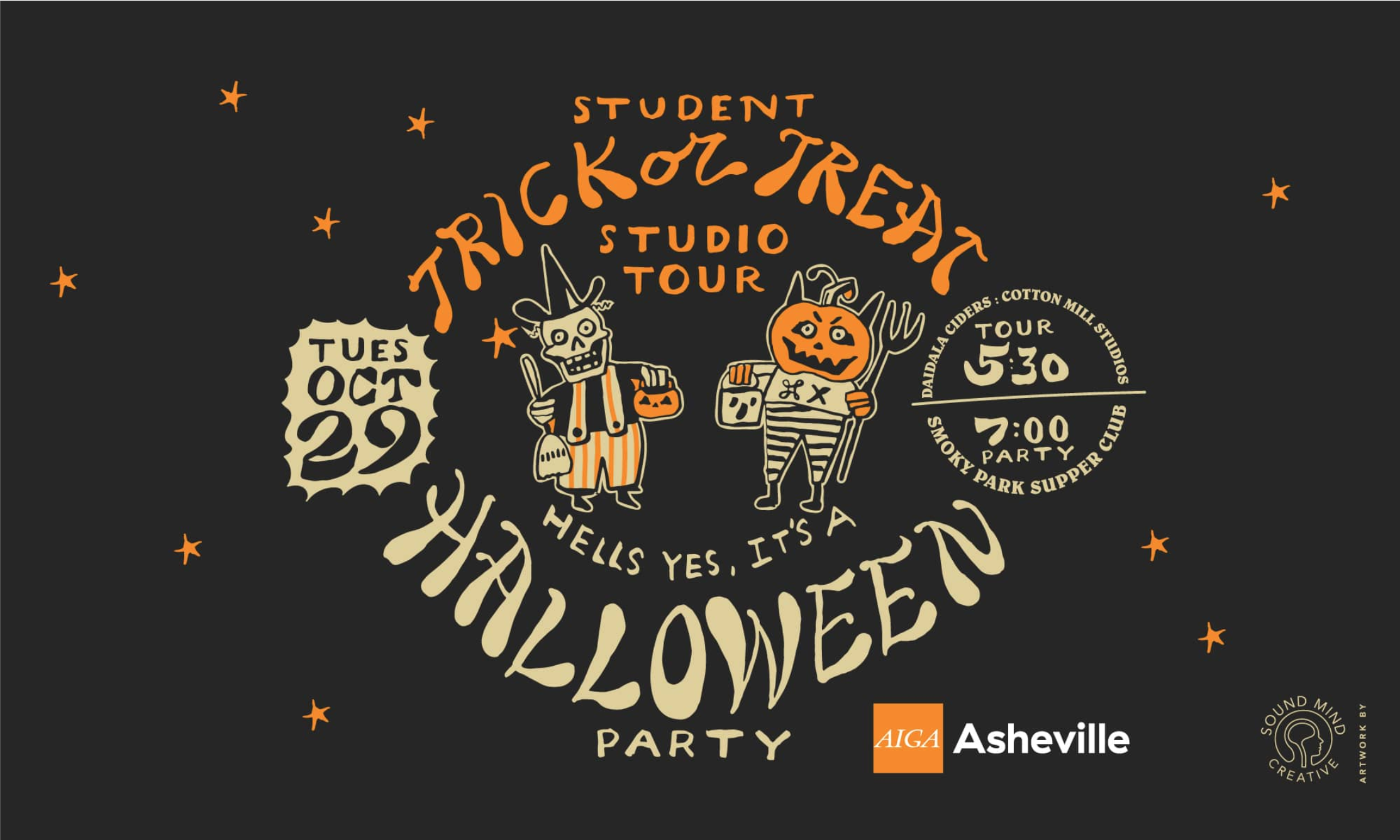 AIGA Asheville Student Trick or Treat Studio Tour of Mojo